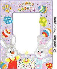 Easter border with bunnies - Frame border with Easter...