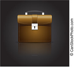 brown colored brief case isolated and with a reflection underneath