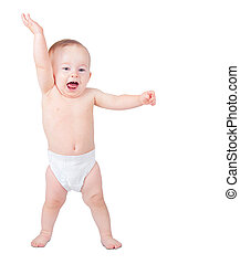 Toddler learning to walk on a white background