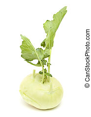 Kohlrabi isolated on white - Pale green Kohlrabi cabbage...