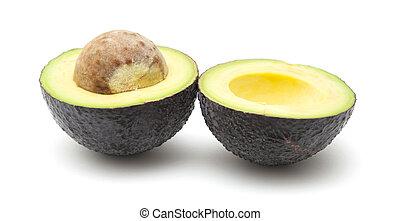 round dark skinned avocado pear - halved round dark skinned...