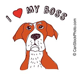 Pet dog love boss isolate on white Color vector illustration...