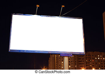 Empty roadside billboards at evening in city