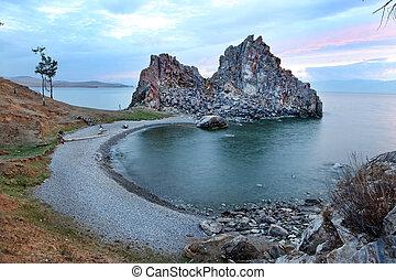 Sundown at Shaman Rock, Lake Baikal, Russia