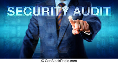 Auditor Pressing SECURITY AUDIT Onscreen - Auditor is...