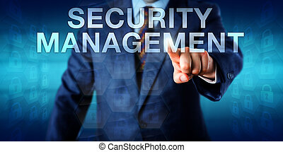 Manager Pressing SECURITY MANAGEMENT Onscreen - Manager is...