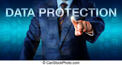 Manager Pushing DATA PROTECTION Onscreen - Manager is...