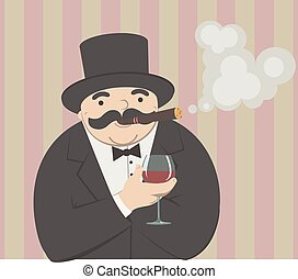rich man with a glass of wine - cartoon man smoking a cigar...