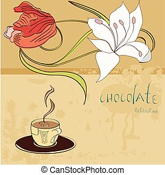 Template for restaurant design wit a cup of chocolate