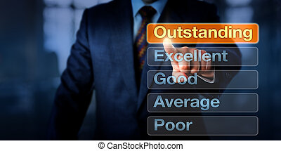 Manager Selecting Outstanding Button - Manager is selecting...