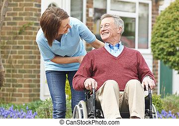 輪椅, 年長者,  carer, 人