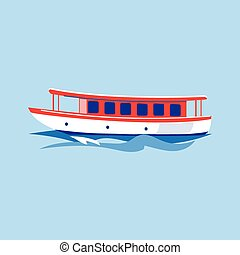 Excursion Ship on the Water. Vector Illustration