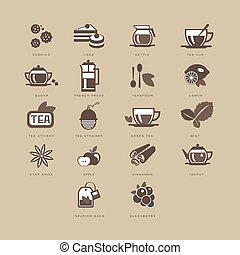 Tea and Spices Flat Icon Set - Tea and Spices Flat Vector...