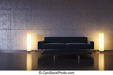 Minimalism: black couch and two lights by the wall