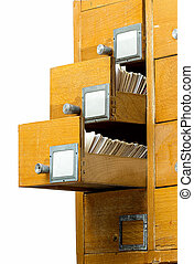Old wooden card catalog on white background - Old wooden...