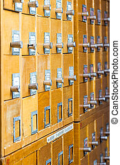 Old wooden card catalog in the archive library