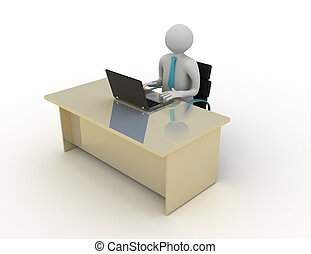 3d white human sitting at a table