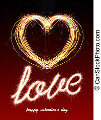 valentines - Love text and heart shape written with Sparkle...