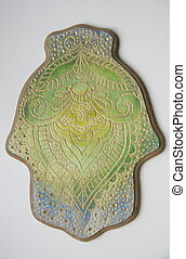 The engraved hamsa - photo of wooden painted engraved hamsa...