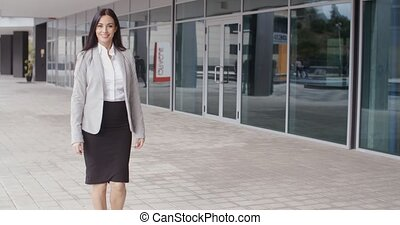 Gorgeous business woman walking - Gorgeous confident...