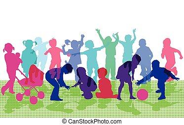 jubelnde Kinder spielen.eps - Children cheering and playing