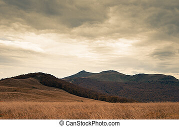 Landscape in the Bieszczady mountains in Poland
