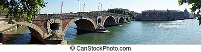 Garonne river - TOULOUSE, FRANCE - CIRCA JULY 2015 Panorama...