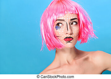 Beauty head shot Young woman with creative pop art make up...