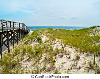 Boardwalk to the Sea - A boardwalk leading to the beach in...