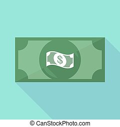 Long shadow banknote icon with a dollar bank note -...