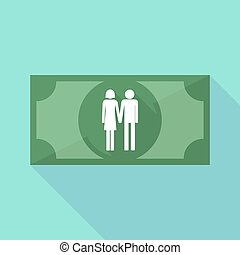 Long shadow banknote icon with a heterosexual couple...