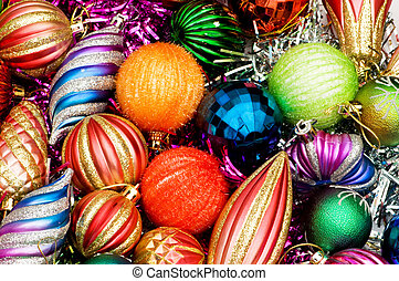 Colourful christmas decoration on a shiny background