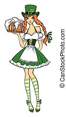 Beautiful leprechaun girl in green with beer. Saint...