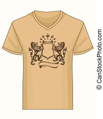 Shirt template with heraldry coat of fame - V-neck shirt...
