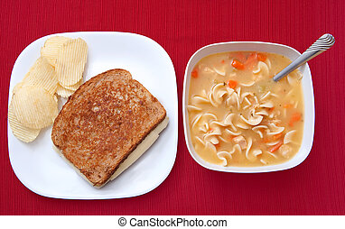soup and sandwich - one basic grilled cheese sandwich and...