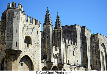 Pope palace - Wall of Pope palace in Avignon, France...