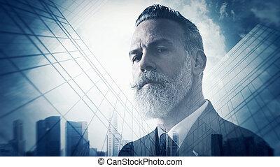 Portrait of bearded gentleman in suit and double exposure...