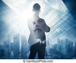 Portrait of bearded gentleman in suit Double exposure...