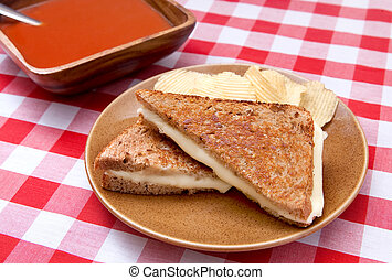 soup and sandwich - basic grilled cheese sandwich on toasted...