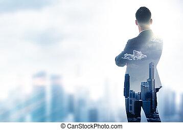 Gentleman in moder suit looking on the city Double exposure...