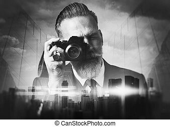BW portrait of bearded gentleman makes the photo on a retro...