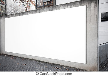 Empty billboard screen on the concrete gray background.