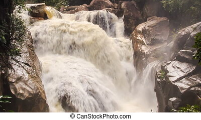 Closeup Waterfall of Mountain River Stormy Stream Among...
