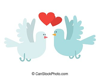 Doves couple with hearts vector icon illustration Dove...