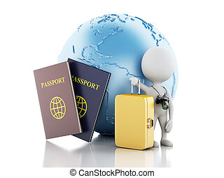 3d White people tourist with passport and earth globe. - 3d...