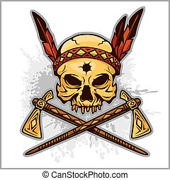 Skull of an indian warrior vector illustration Isolated on...