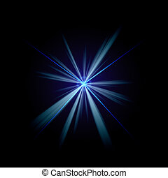 Blue Flash of Light - Bright blue flash of light or lens...
