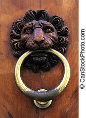 Antique door knob with lion's head, Italy - Antique door...