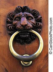 Antique door knob with lion's head, Italy - Antique door...