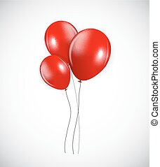 Set of Red Balloons, Vector Illustration